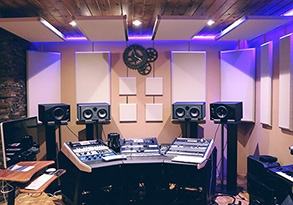 studio with suspended acoustic wall panels