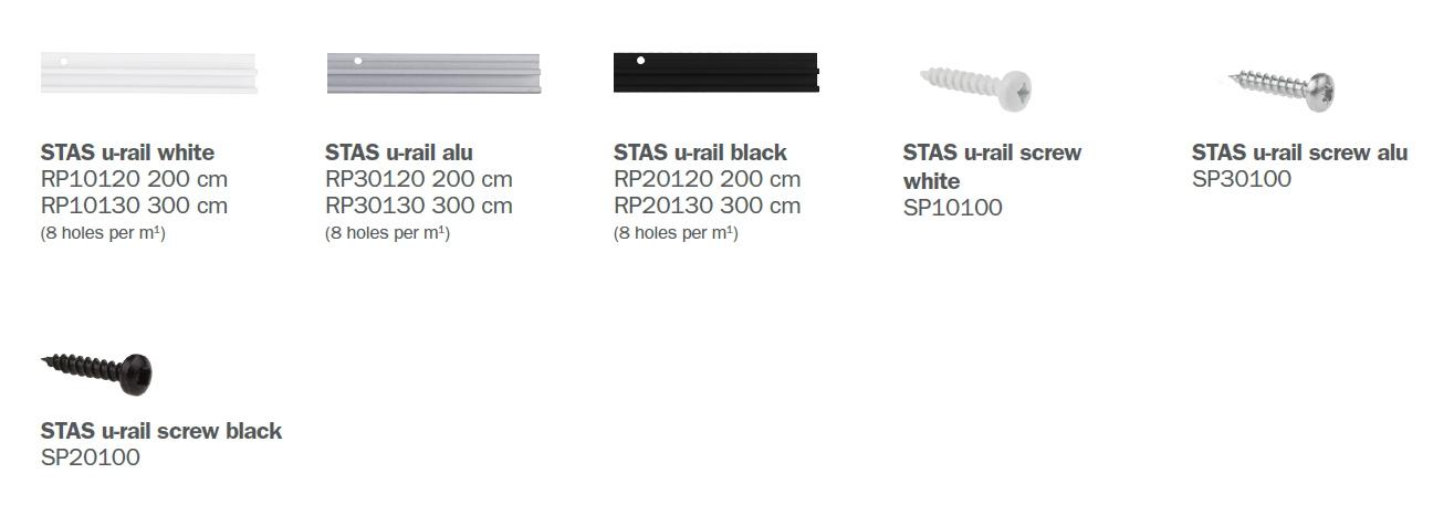 STAS u-rail parts